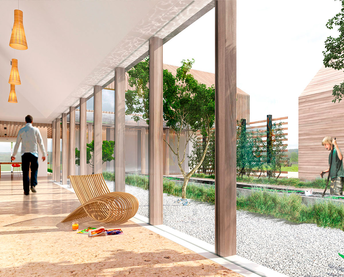 The glazed courtyard render of View Point (Para 55). Designed by Hawkes Architecture, this energy efficient grand design, follows passive house principles.