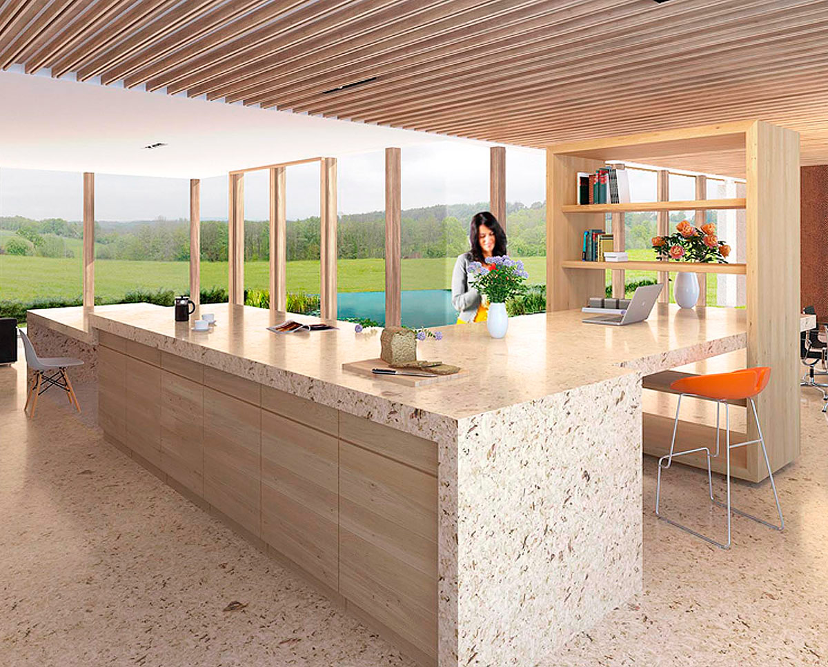 The kitchen render of View Point (Para 55). Designed by Hawkes Architecture, this energy efficient grand design, follows passive house principles.