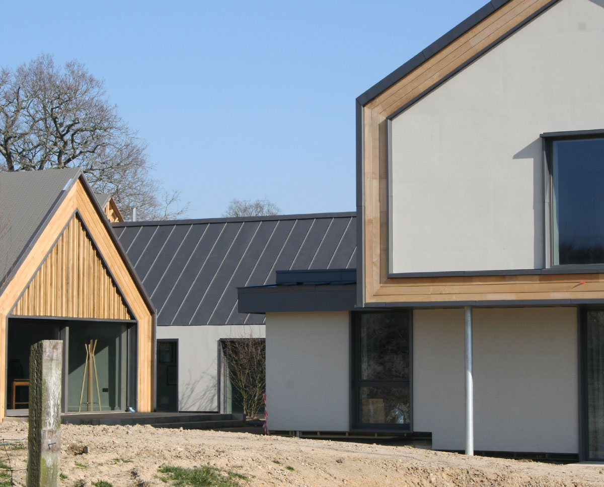 The building detail at View Point (Para 55). Designed by Hawkes Architecture, this energy efficient grand design, follows passive house principles.