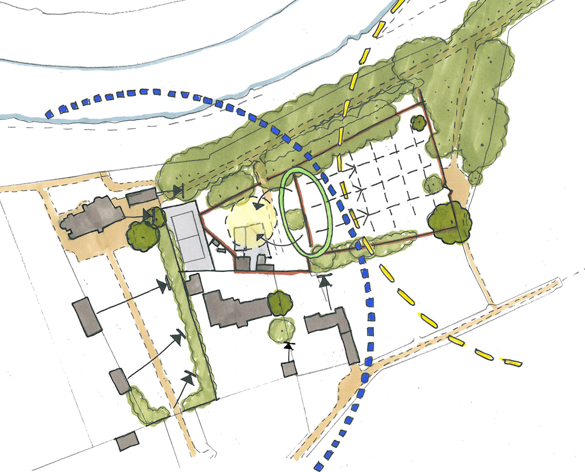 Early plan drawing of York Gardens. A sustainable eco-friendly, Para 79 passivhaus designed by Hawkes Architecture.