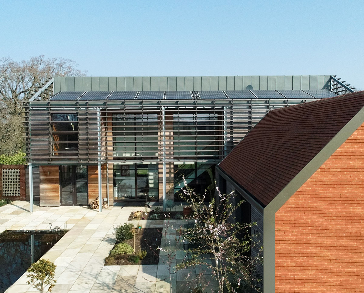 Aerial view of the courtyard at Echo Barn (Para 55). Designed by Hawkes Architecture, this energy efficient grand design, follows passive house principles.