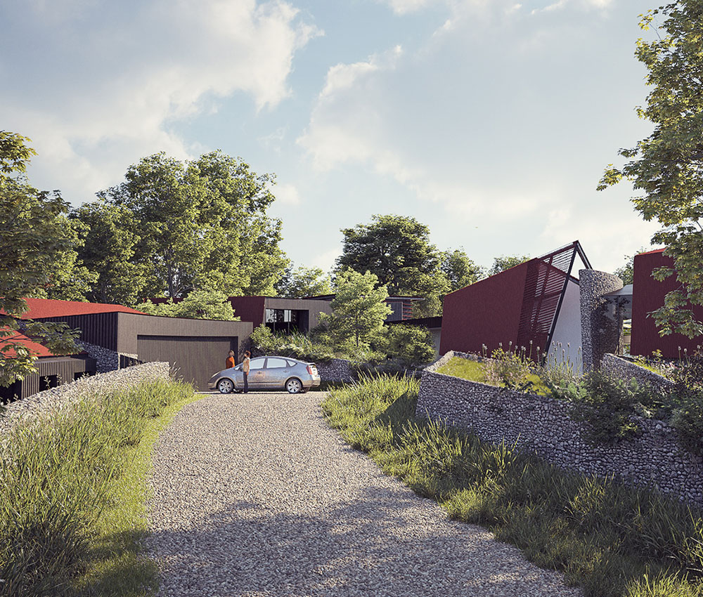 Quarry House (Para 55). Designed by Hawkes Architecture, this energy efficient grand design follows passive house principles.
