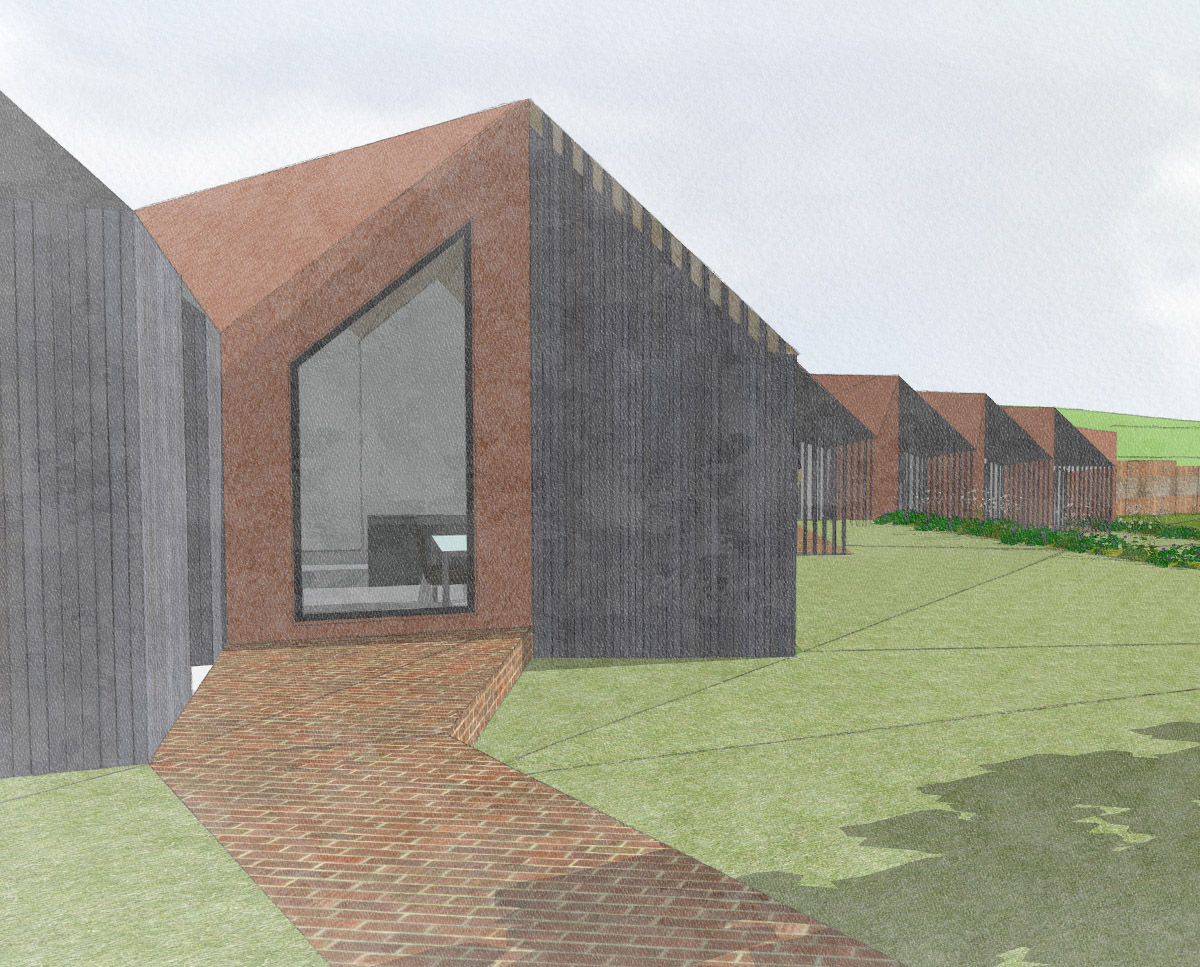 The south elevation of Rural Faversham (Para 79). Designed by Hawkes Architecture, this energy efficient grand design, follows passive house principles.