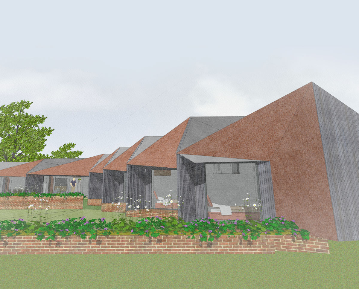 The north elevation of Rural Faversham (Para 79). Designed by Hawkes Architecture, this energy efficient grand design, follows passive house principles.