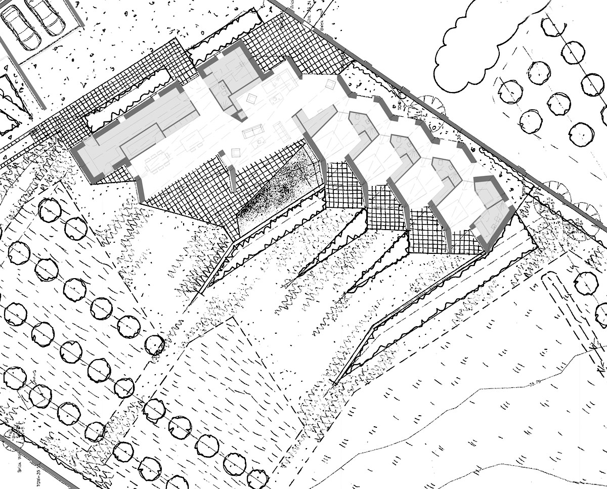 The plan drawing of Rural Faversham (Para 79). Designed by Hawkes Architecture, this energy efficient grand design, follows passive house principles.