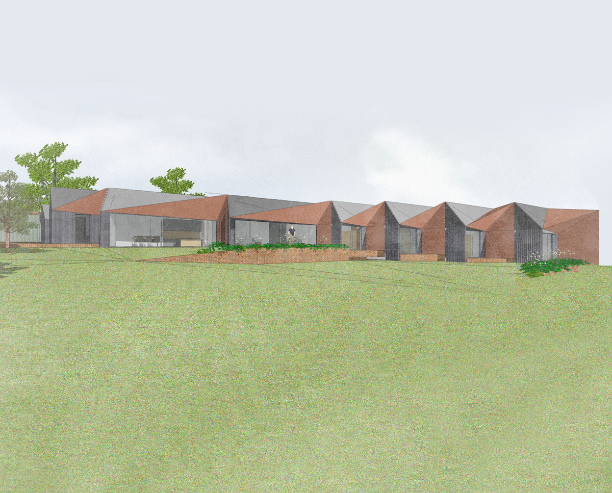 The rear elevation of Rural Faversham (Para 79). Designed by Hawkes Architecture, this energy efficient grand design, follows passive house principles.