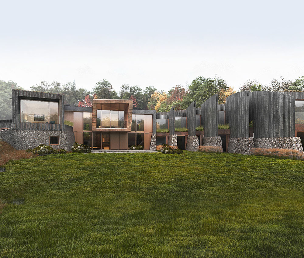 Hedgebank (Para 79). Designed by Hawkes Architecture, this energy efficient grand design follows passive house principles.