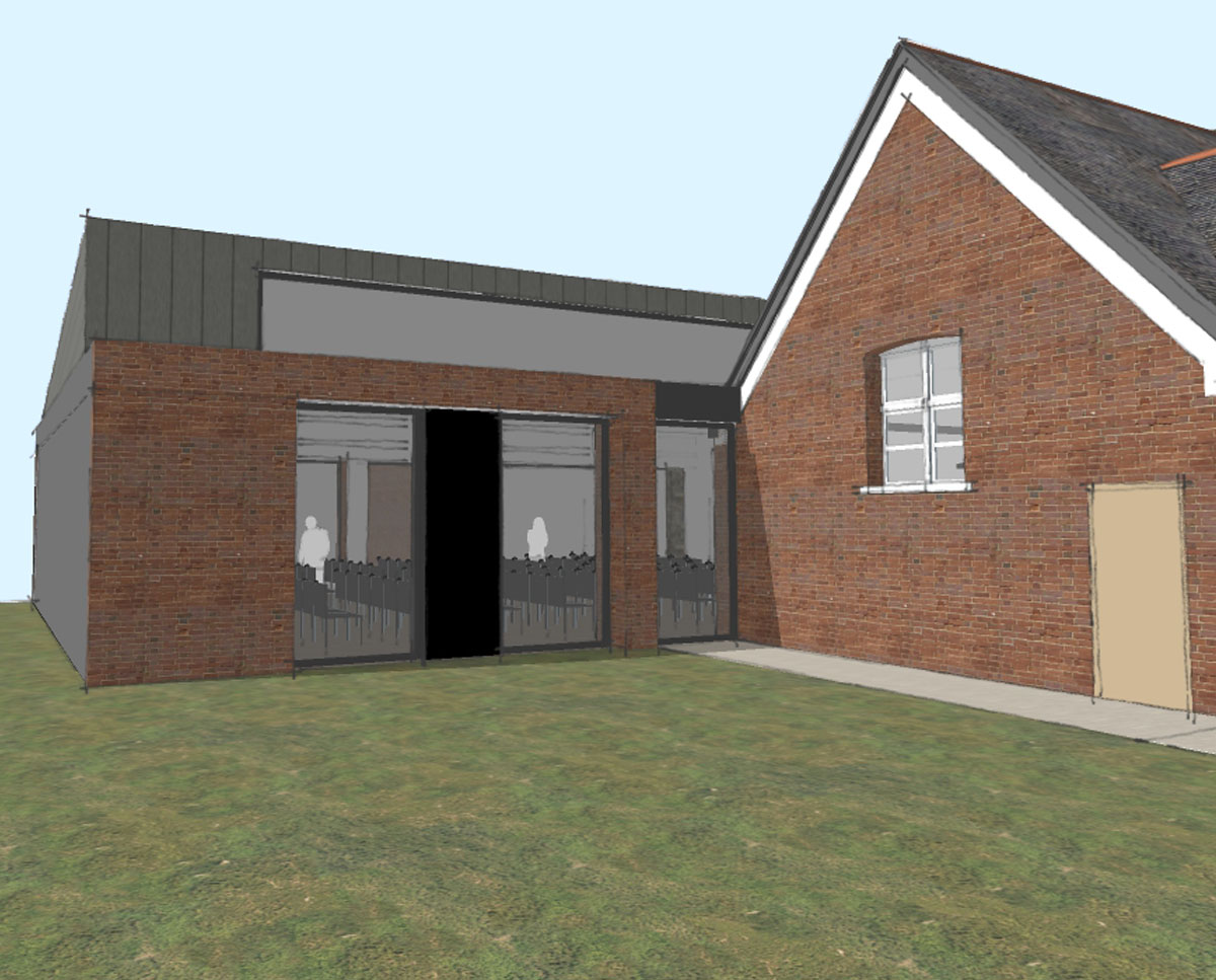 East elevation of Community Centre, a new build & remodelling project in Staplehurst, designed by Hawkes Architecture.