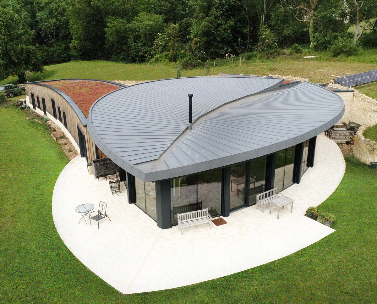 Aerial view of Headlands (Para 55). Designed by Hawkes Architecture, this energy efficient grand design, follows passive house principles.