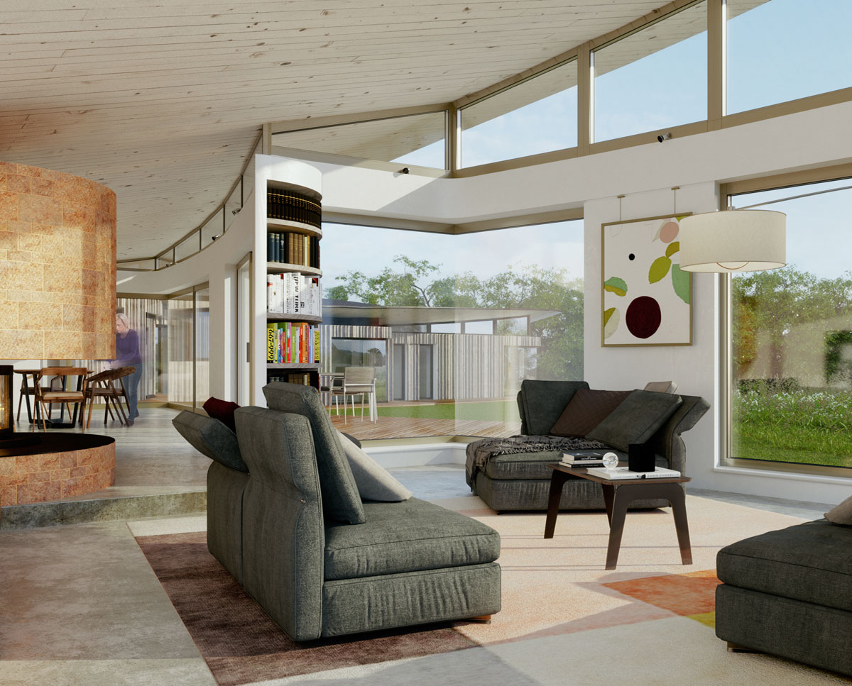 Interior render of Ashdown Forest (Para 79). Designed by Hawkes Architecture, this energy efficient grand design, follows passive house principles.