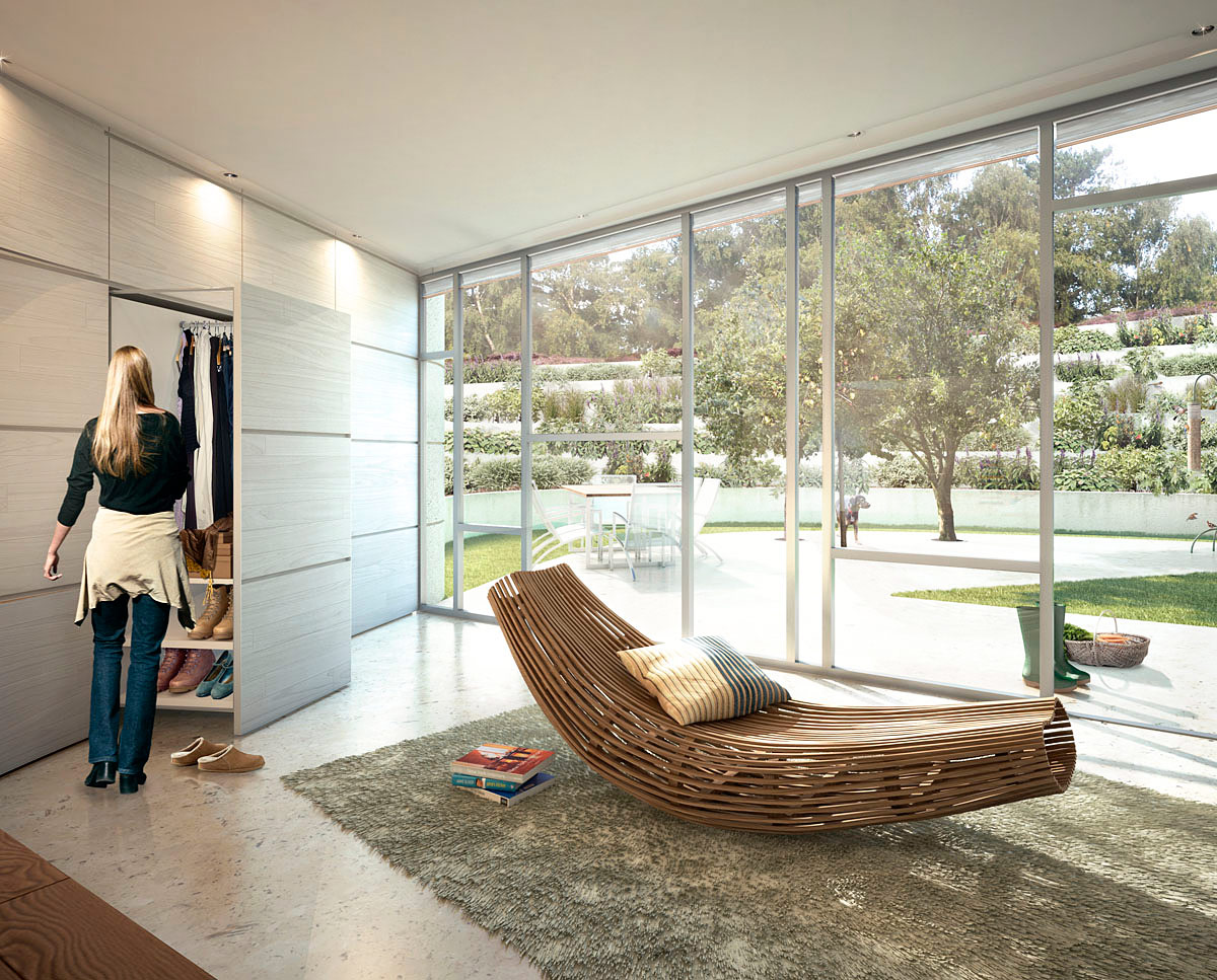 Bedroom render of Bigbury Hollow (PPS 7). Designed by Hawkes Architecture, this energy efficient grand design, follows passive house principles.