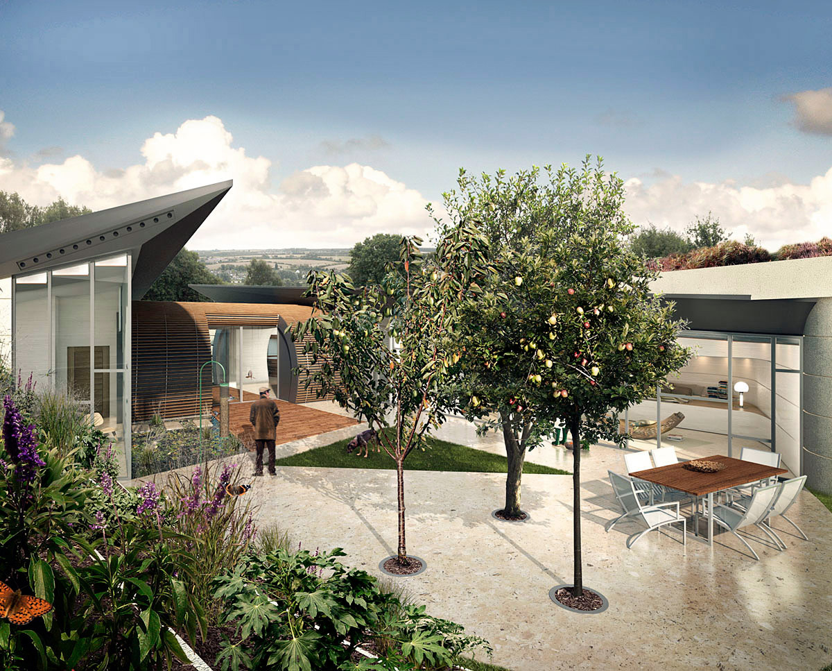 Sunken courtyard at Bigbury Hollow (PPS 7). Designed by Hawkes Architecture, this energy efficient grand design, follows passive house principles.