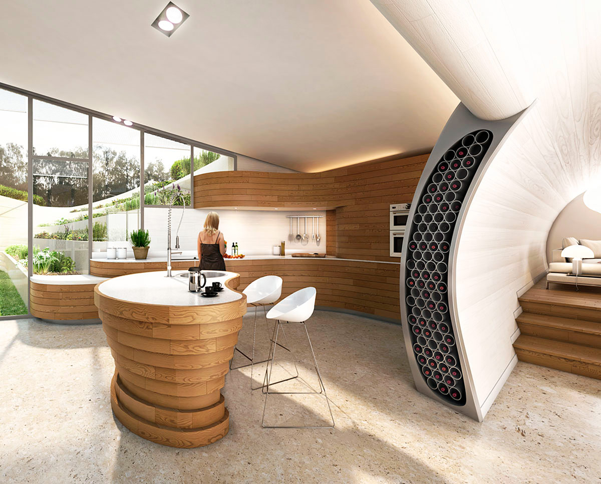 Kitchen render of Bigbury Hollow (PPS 7). Designed by Hawkes Architecture, this energy efficient grand design, follows passive house principles.