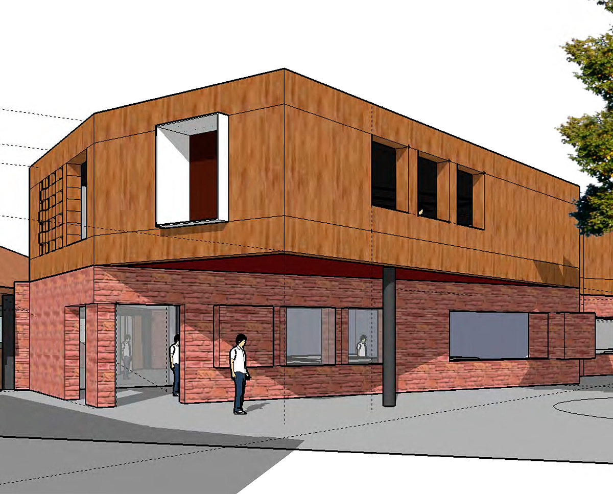 Exterior render of Chatham Grammar School's new landmark arts building, designed by Hawkes Architecture.