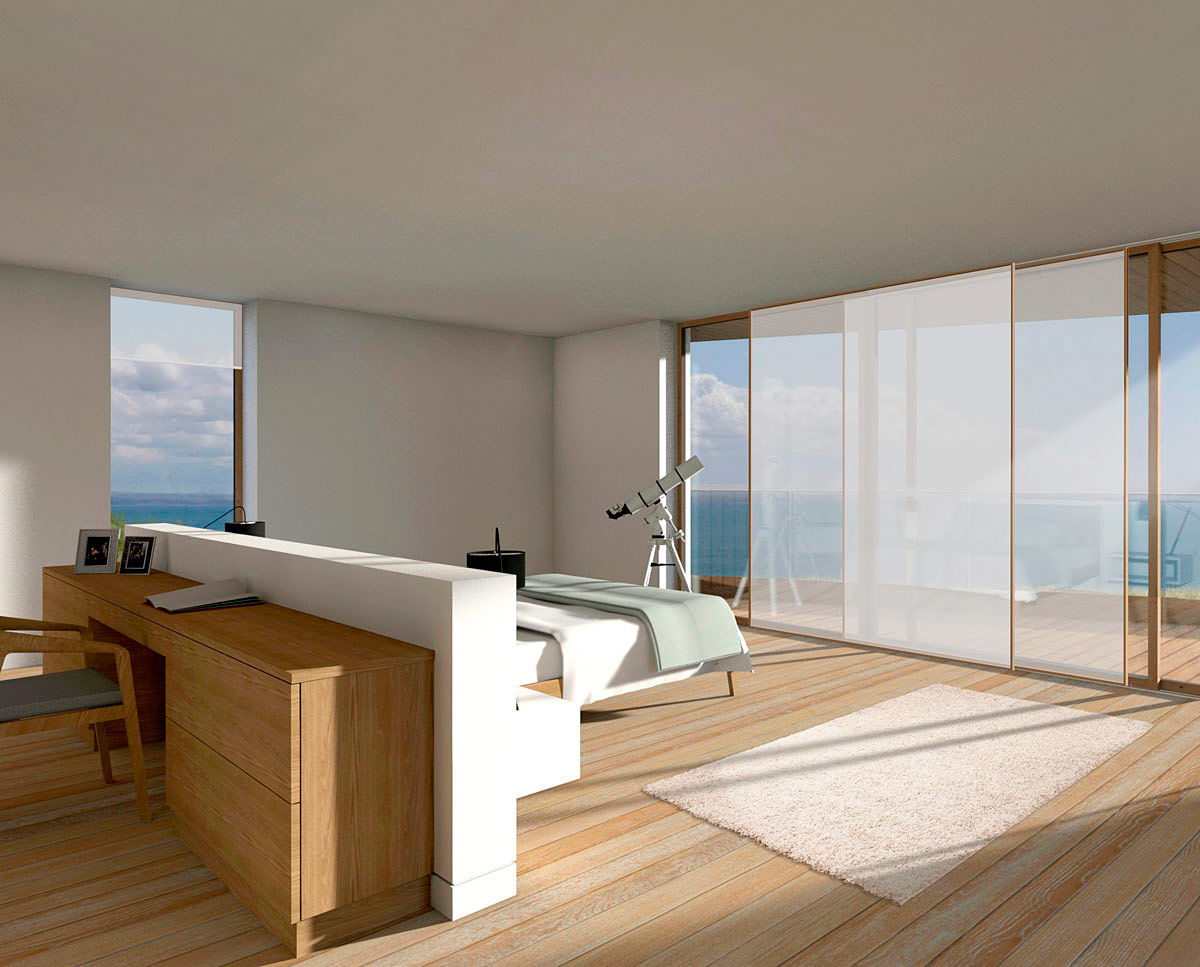 Master bedroom render of Cliff Top House (Para 55). Designed by Hawkes Architecture, this energy efficient grand design, follows passive house principles.
