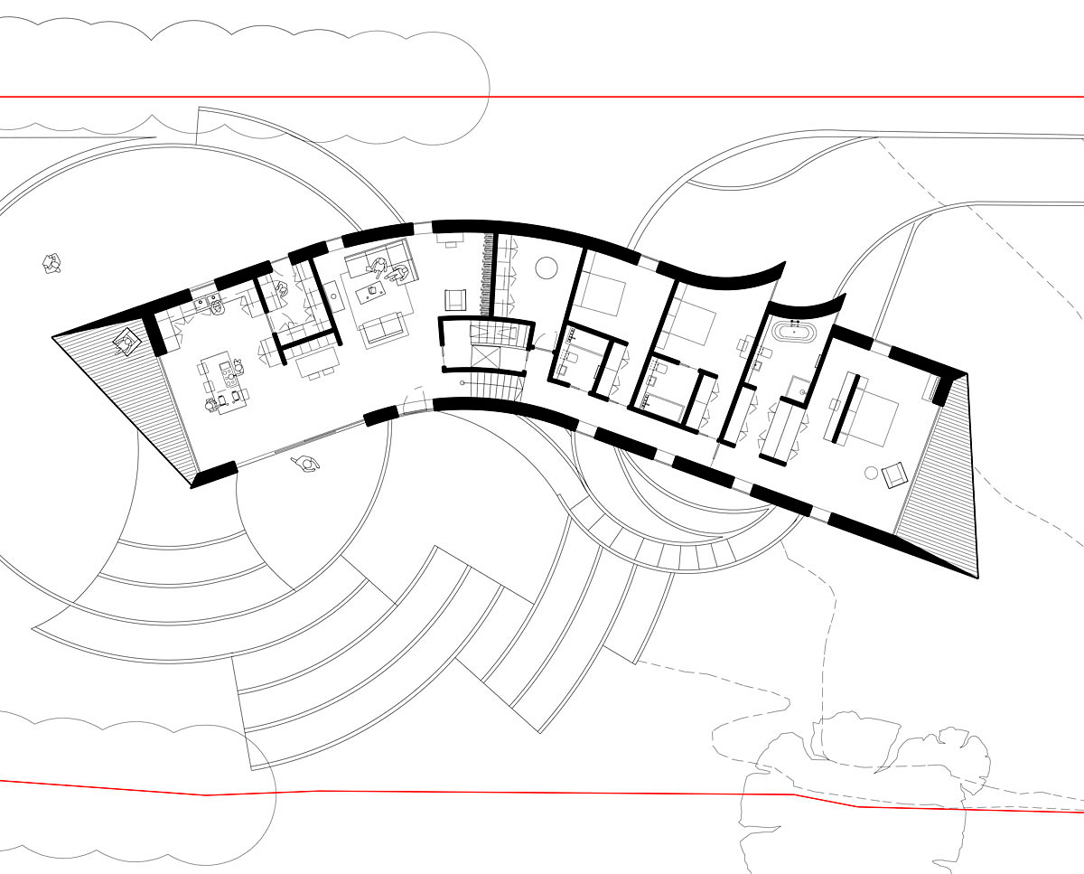 Plan drawings of Cliff Top House (Para 55). Designed by Hawkes Architecture, this energy efficient grand design, follows passive house principles.