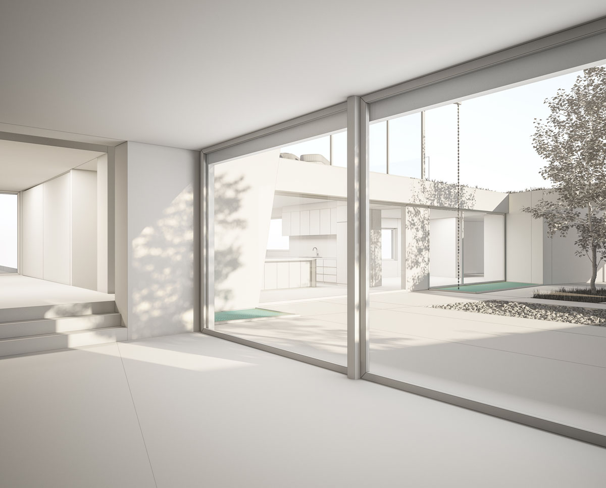 Internal render of Coach House. Designed by Hawkes Architecture this grand design, follows passive house principles.