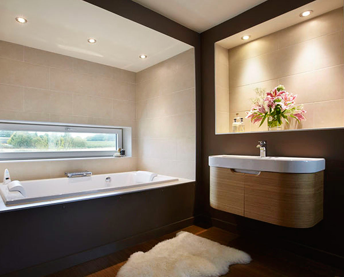 The family bathroom at Crossway. Designed by Hawkes Architecture and featured on channel 4's Grand Designs, this energy efficient timber-frame passivhaus utilises the latest renewable technology.