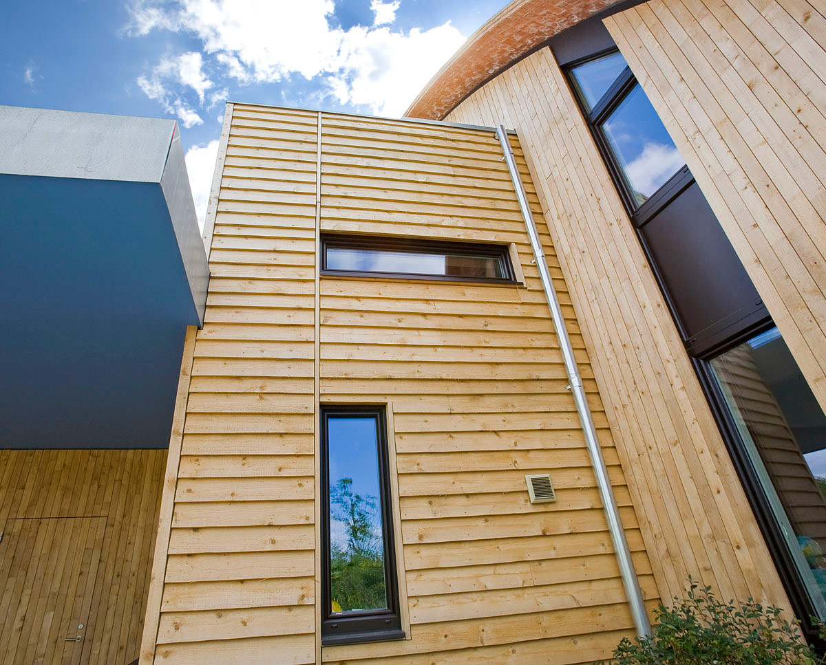 The timber cladding detail at Crossway. Designed by Hawkes Architecture and featured on channel 4's Grand Designs, this energy efficient timber-frame passivhaus utilises the latest renewable technology.