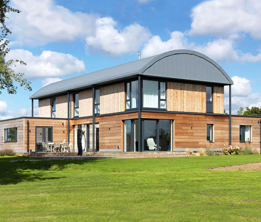 Halfpenny House (Para 55). Designed by Hawkes Architecture, this energy efficient grand design, follows passive house principles.