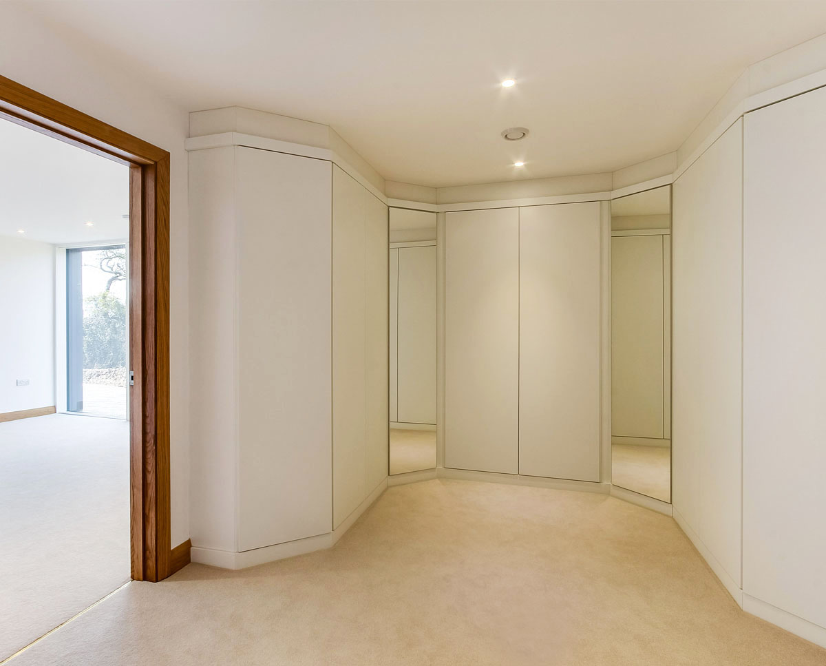 The walk in wardrobe at Headlands (Para 55). Designed by Hawkes Architecture, this energy efficient grand design, follows passive house principles.