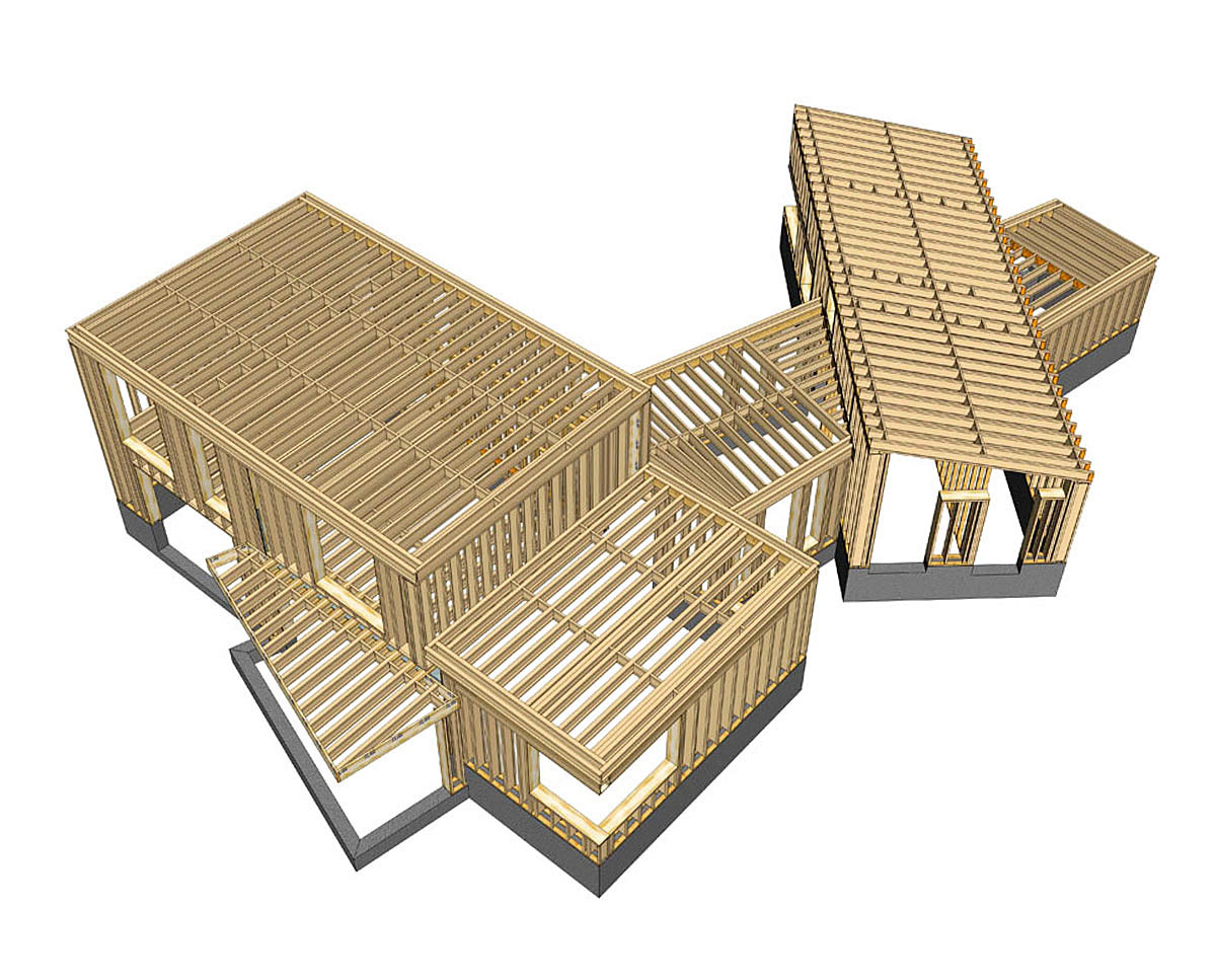 Timber frame plans of Meadow View (PPS 7). Designed by Hawkes Architecture, this energy efficient grand design, follows passive house principles.