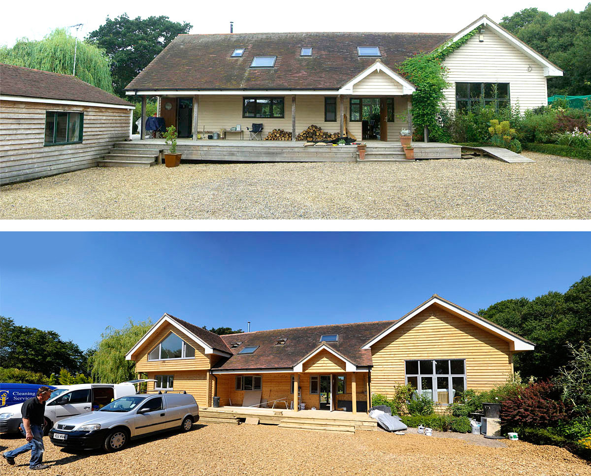 Front elevation, before and after the project was completed. Monks is an energy efficient extension & remodelled building in Horton Wood and was designed by Hawkes Architecture.
