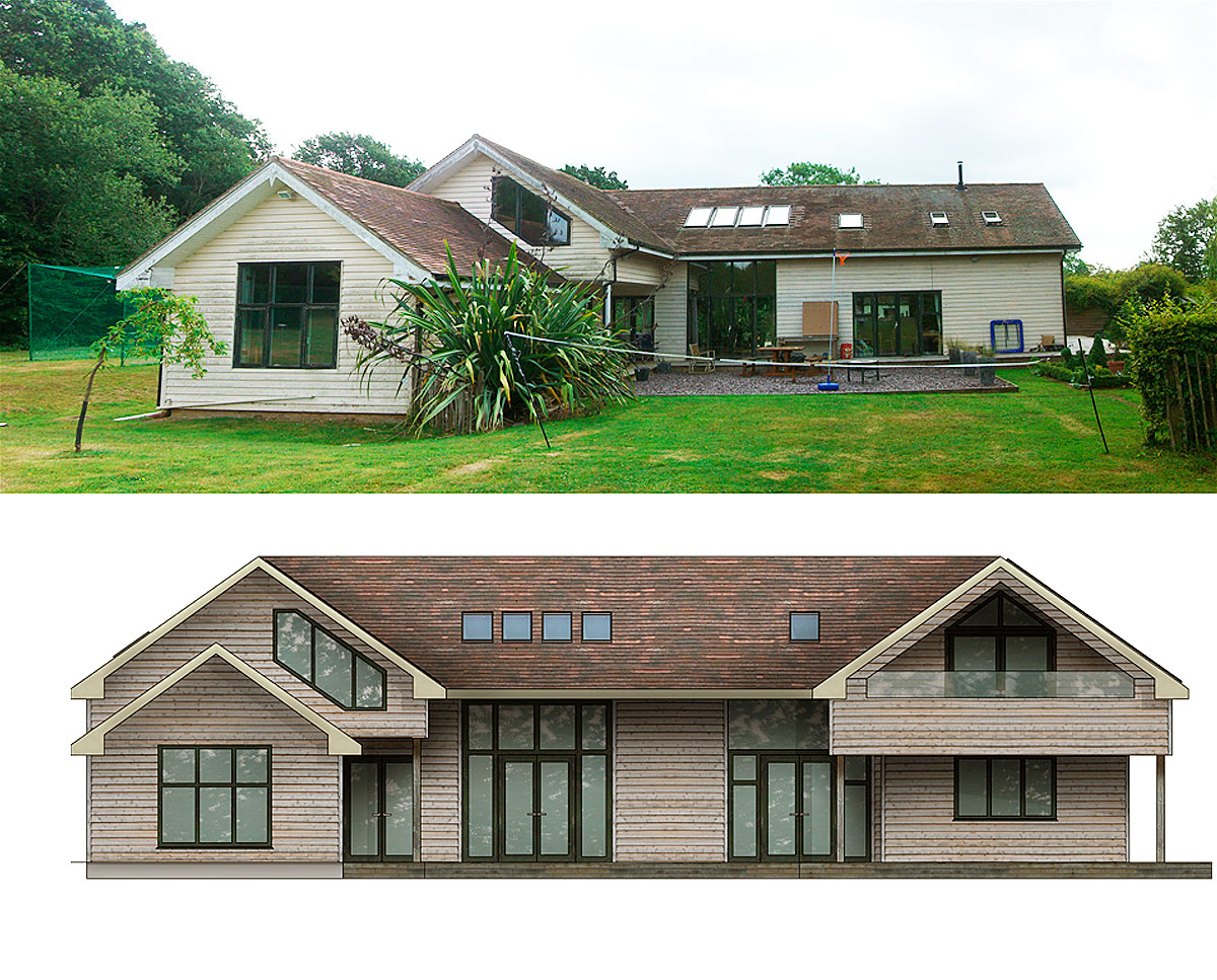 Rear elevation, before and after plans of Monks, an energy efficient extension & remodelled building in Horton Wood and was designed by Hawkes Architecture.
