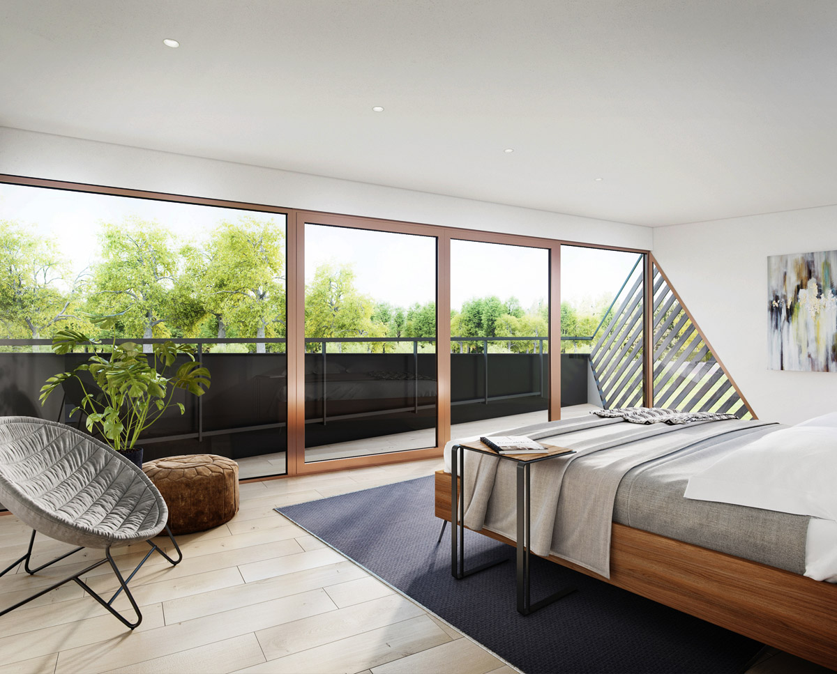 Internal render of Cannon Orchard (Para 79). Designed by Hawkes Architecture, this energy efficient grand design, follows passive house principles.