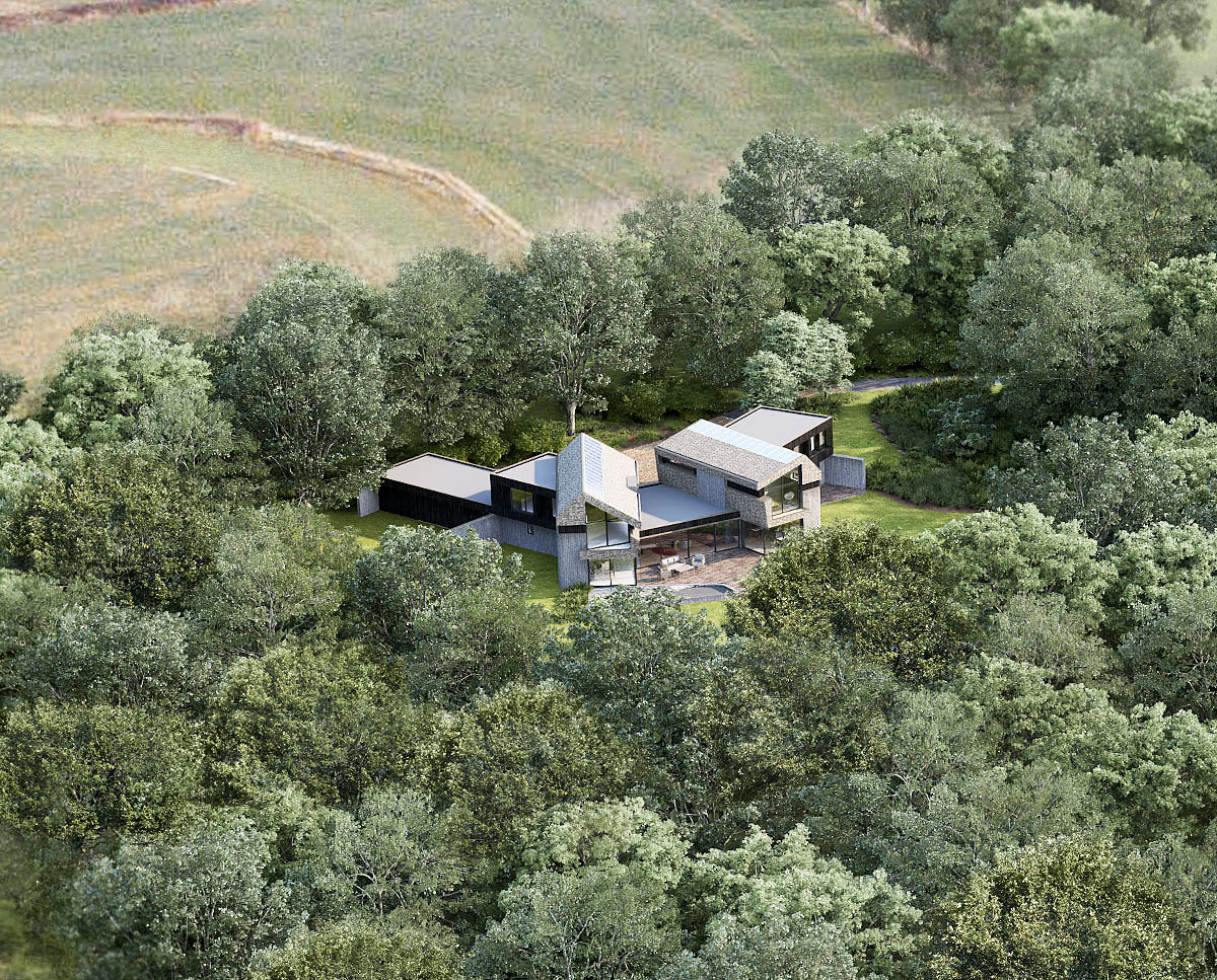 Aerial render of Sulby (Para 55). Designed by Hawkes Architecture, this energy efficient grand design, follows passive house principles.