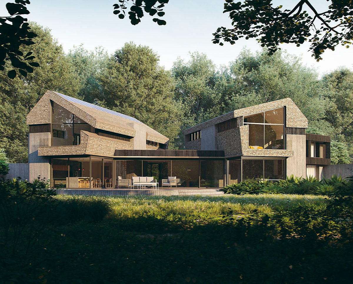 Garden render of Sulby (Para 55). Designed by Hawkes Architecture, this energy efficient grand design, follows passive house principles.