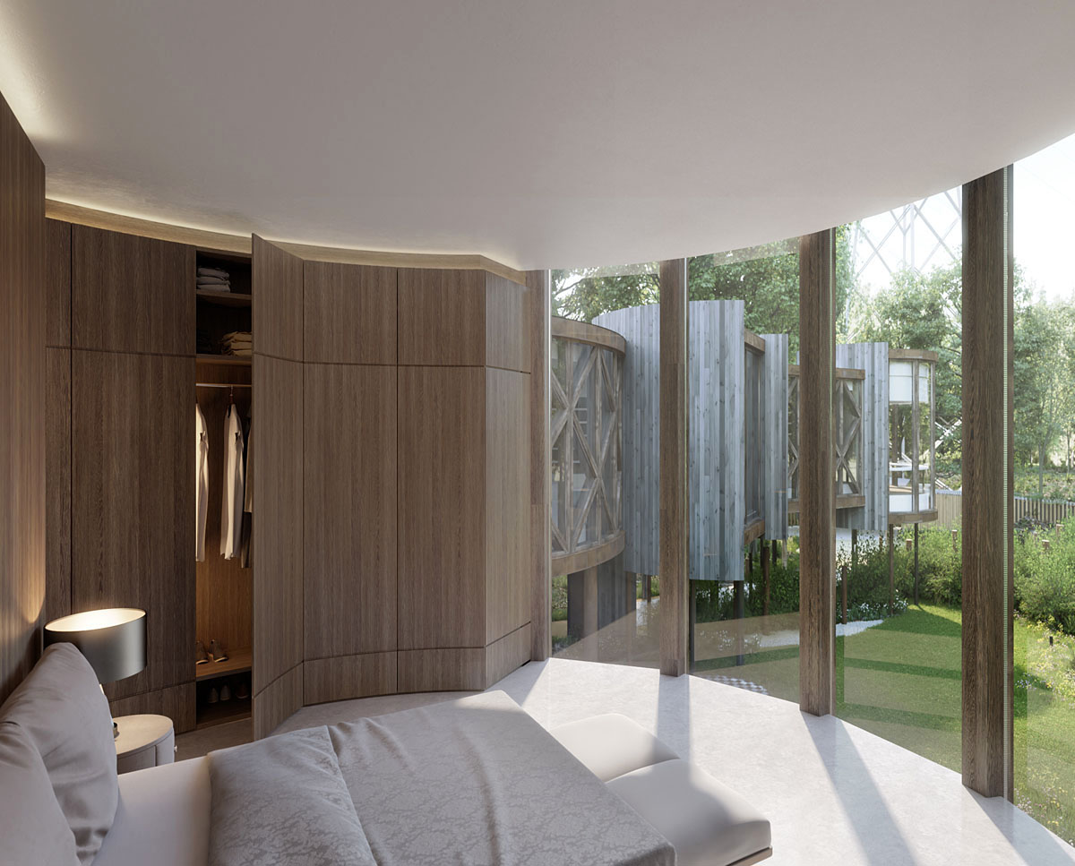Bedroom render of Tree House (Para 55). Designed by Hawkes Architecture, this energy efficient grand design, follows passive house principles.