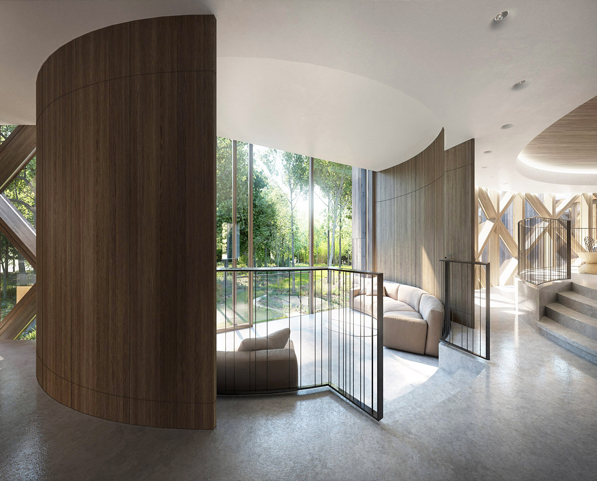 Internal lounge at Tree House (Para 55). Designed by Hawkes Architecture, this energy efficient grand design, follows passive house principles.