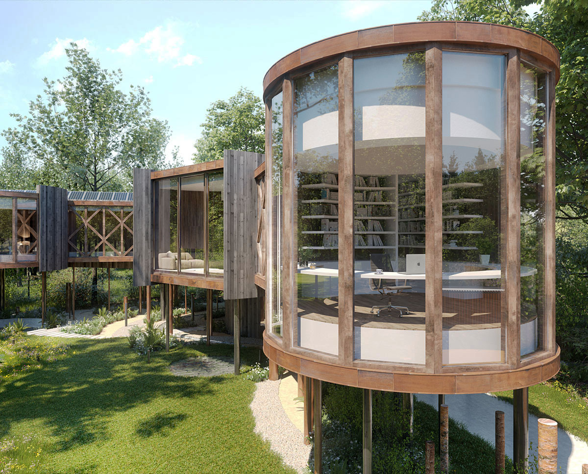 Glazed pods at Tree House (Para 55). Designed by Hawkes Architecture, this energy efficient grand design, follows passive house principles.