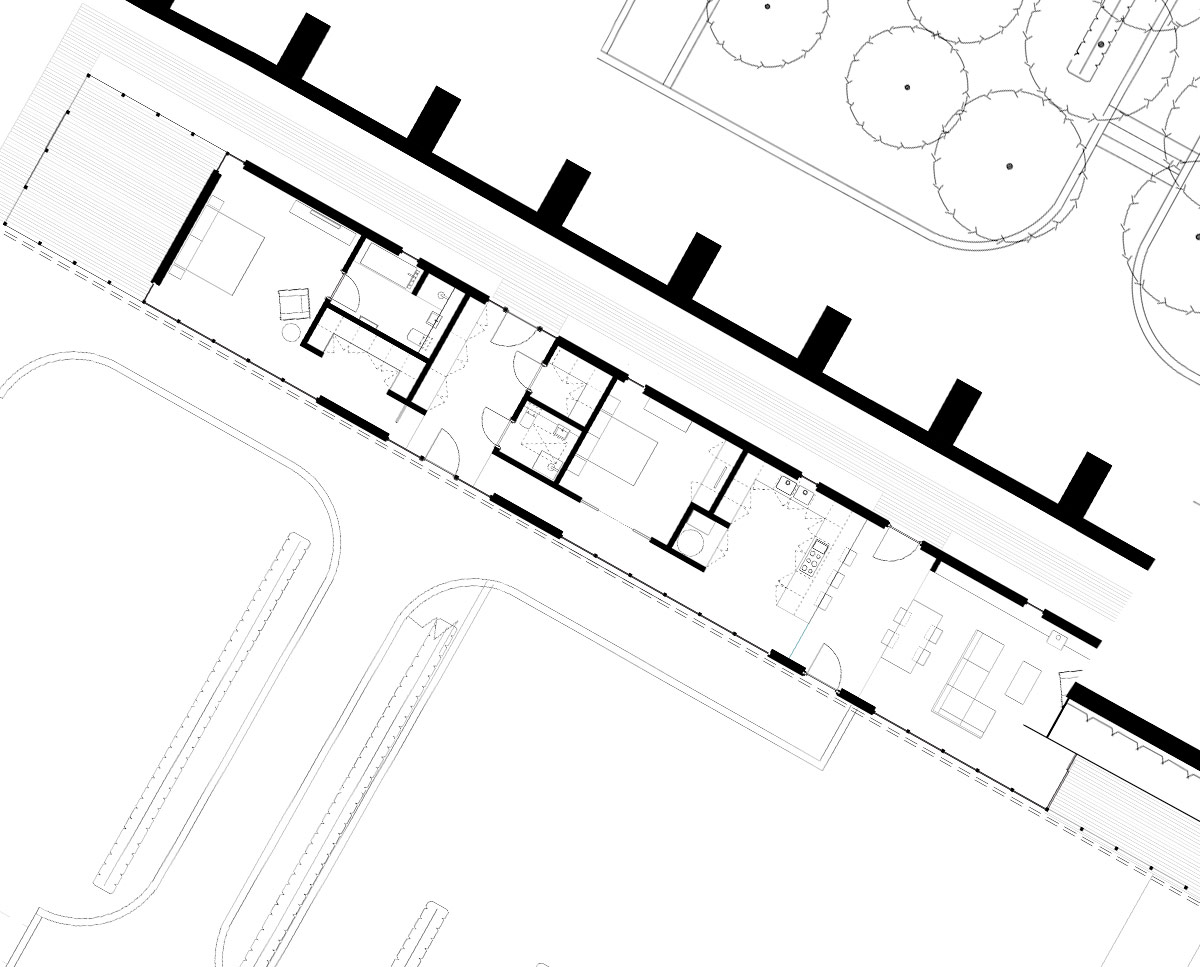Plan drawings of Walled garden, an energy efficient, self-built pavilion building, constructed inside the walls of a grade II listed walled garden and designed by Hawkes Architecture.