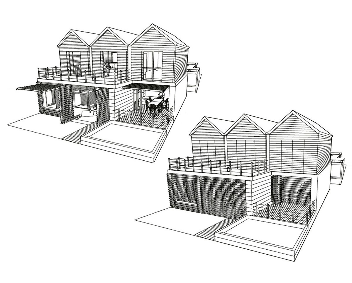 Architect elevation drawings of West Wittering, an eco-friendly replacement dwelling built in Chichester. Designed by Hawkes Architecture.