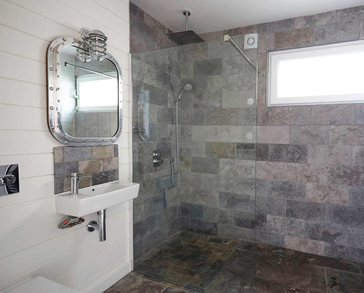 The wet room at West Wittering, an eco-friendly replacement dwelling built in Chichester. Designed by Hawkes Architecture.