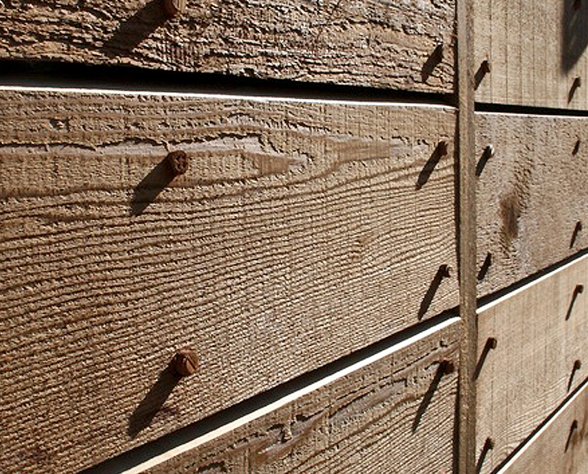 Cladding detail at West Wittering, an eco-friendly replacement dwelling built in Chichester. Designed by Hawkes Architecture.
