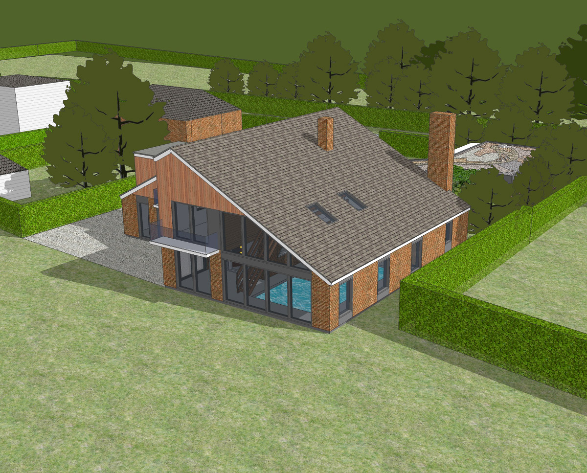 Detailed aerial view of Bellropes. A sustainable energy efficient family home, remodelled by Hawkes Architecture.