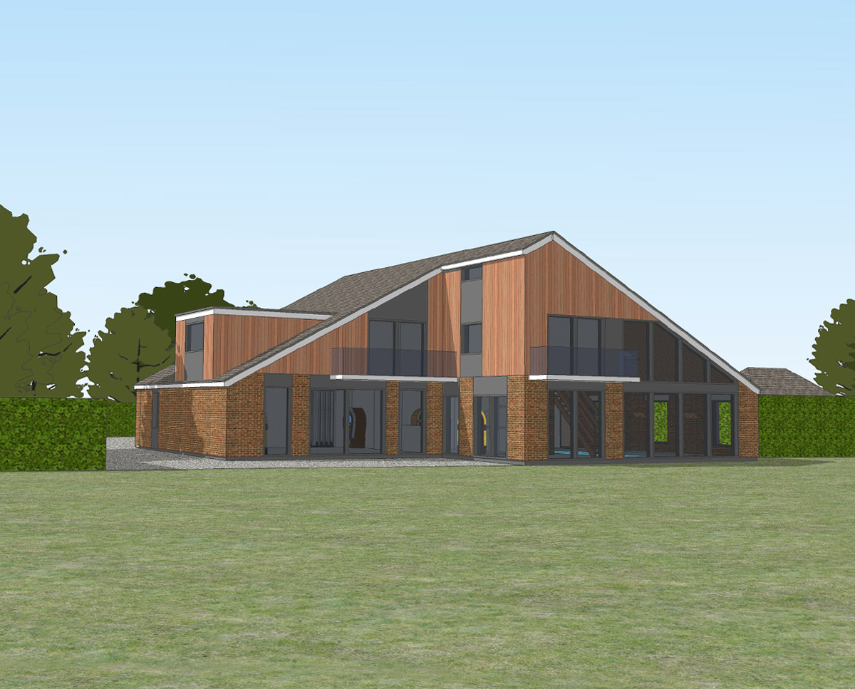 Rear elevation of Bellropes. A sustainable energy efficient family home, remodelled by Hawkes Architecture.
