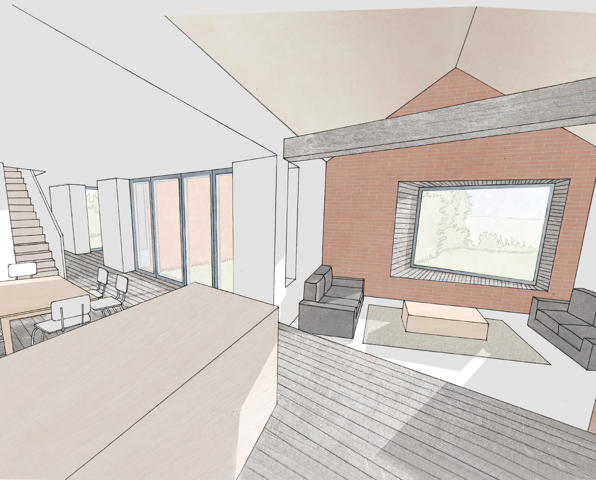Internal render of Scots Pines (Para 79). Designed by Hawkes Architecture, this energy efficient grand design, follows passive house principles.
