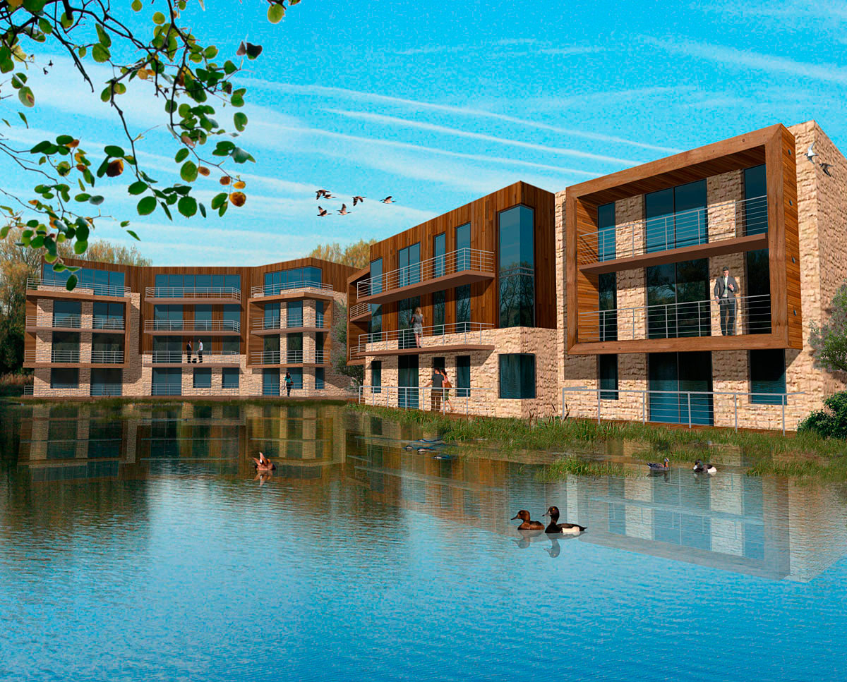 The affordable water front apartments at Fairford Eco Lakes. A sustainable commercial development, designed by Hawkes Architecture.