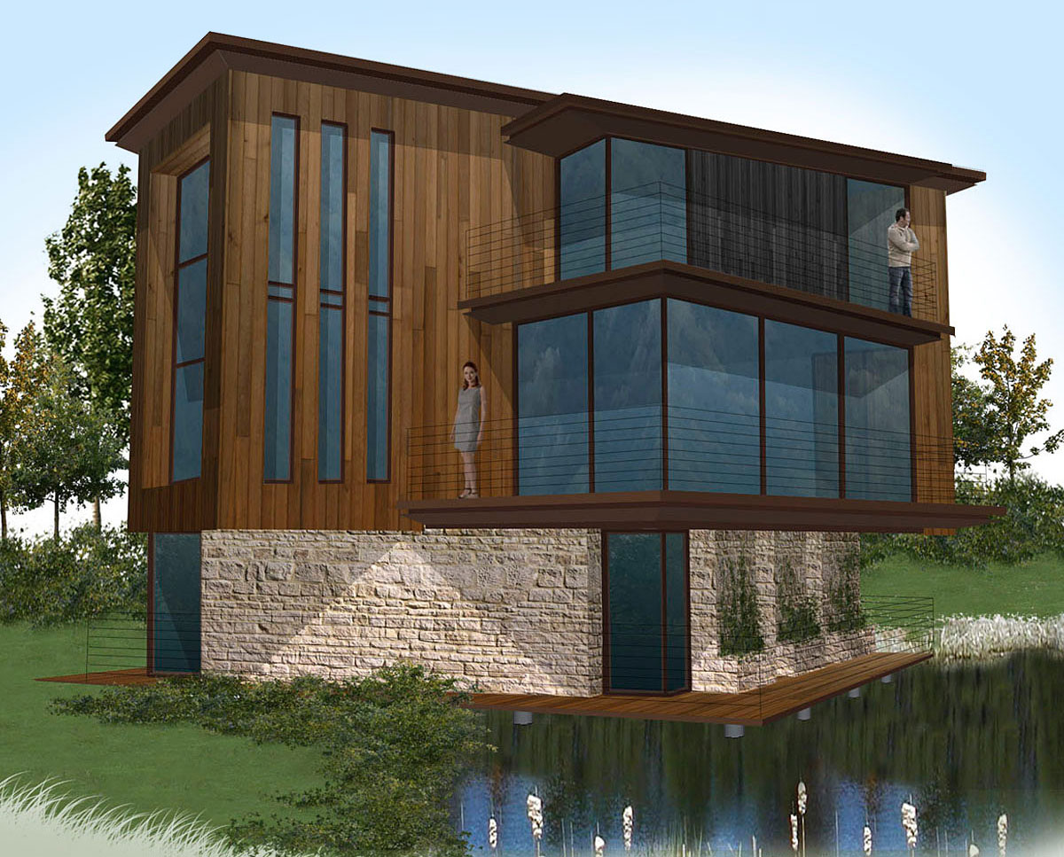 The water fronted apartments at Fairford Eco Lakes. A sustainable commercial development, designed by Hawkes Architecture.