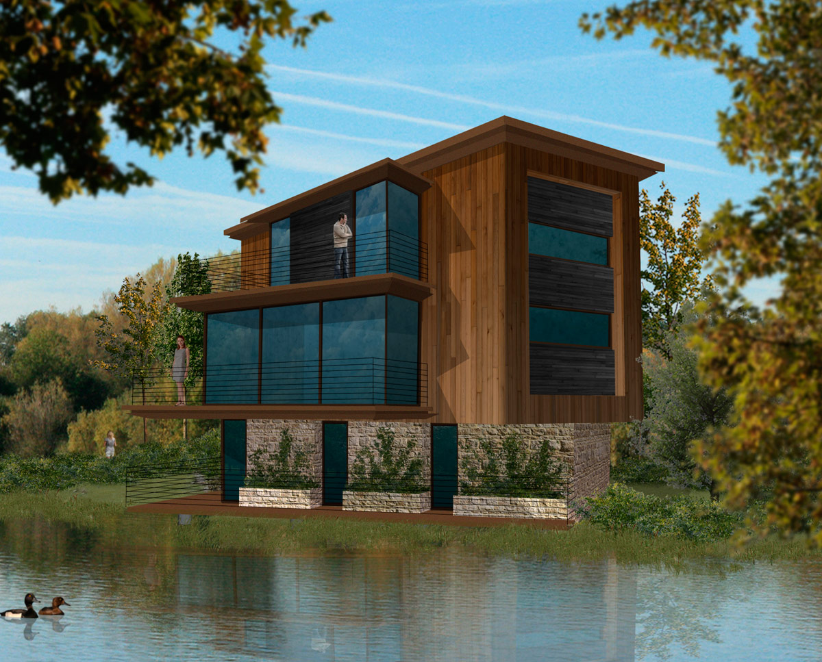 The water fronted homes at Fairford Eco Lakes. A sustainable commercial development, designed by Hawkes Architecture.