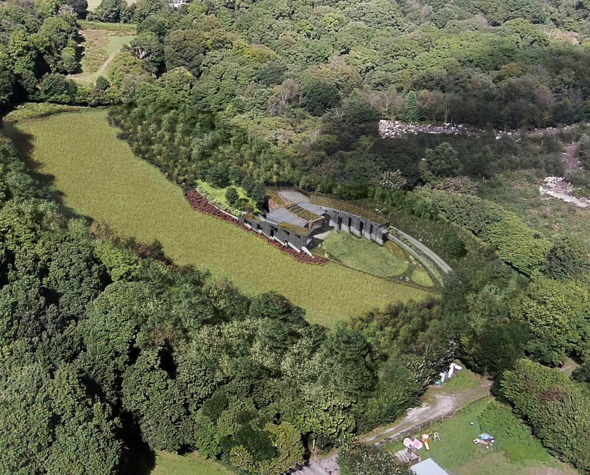 Aerial view of Hedgebank (Para 79). Designed by Hawkes Architecture, this energy efficient grand design, follows passive house principles.