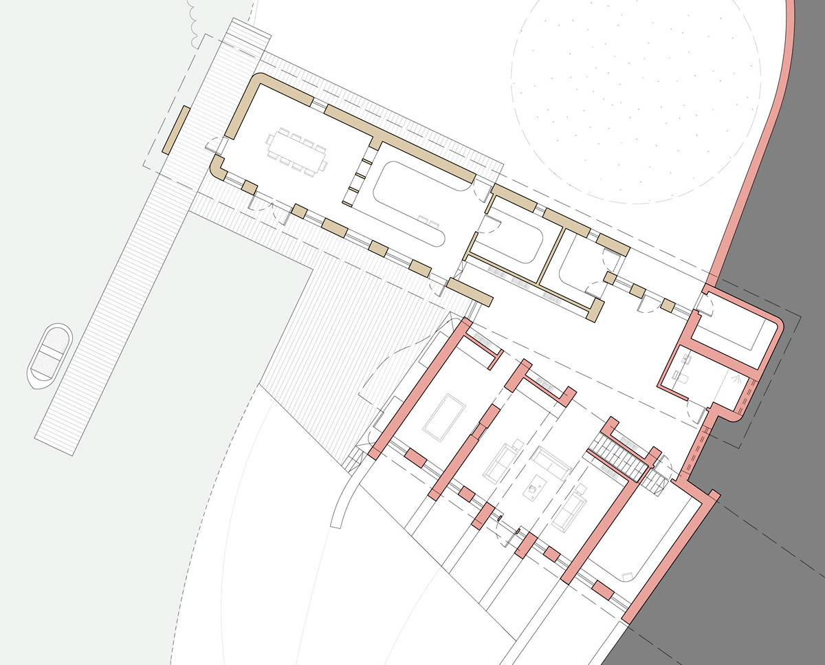 The ground floor plan drawing of Lake House (Para 79). Designed by Hawkes Architecture, this energy efficient grand design, follows passive house principles.