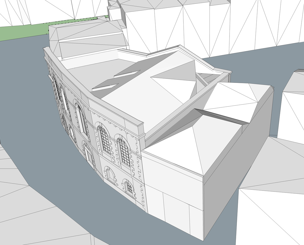 Aerial render of The Bottle House. A sustainable listed building, remodelled by Hawkes Architecture.