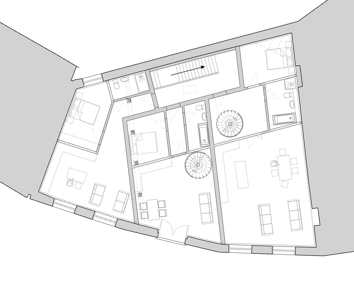 First floor plan drawing of The Bottle House. A sustainable listed building, remodelled by Hawkes Architecture.