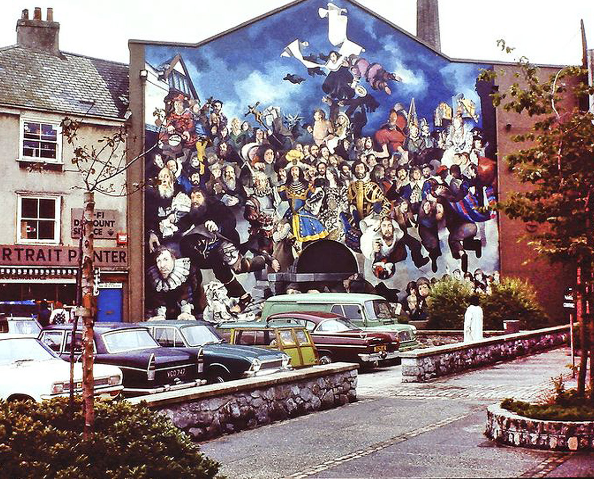 The painted mural at The Bottle House. A sustainable listed building, remodelled by Hawkes Architecture.