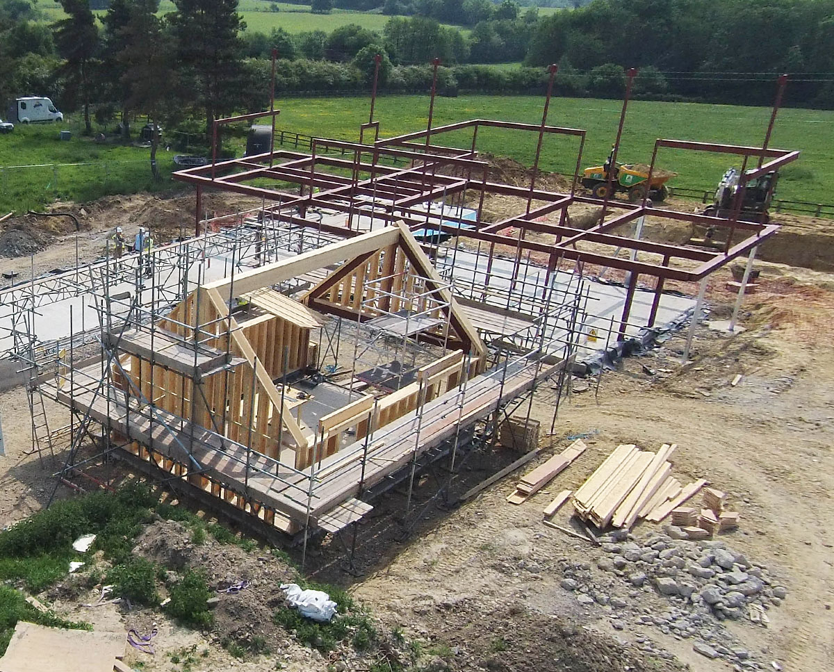 Early construction at View Point (Para 55). Designed by Hawkes Architecture, this energy efficient grand design, follows passive house principles.